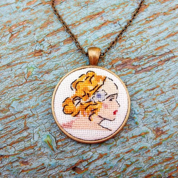 Crossstitch pendant Retro girl by Microstitch on Etsy