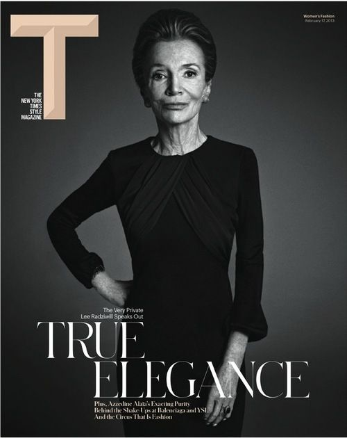 First cover of the redesigned New York Times T magazine, coming out Sunday. Cover of Lee Radziwell, photographed by Mario Sorrenti.