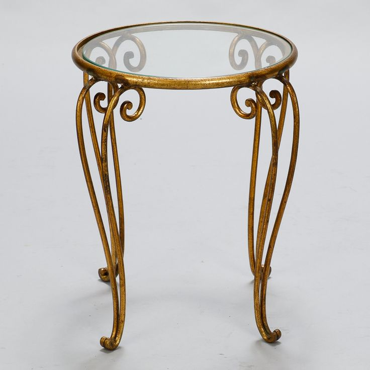 Circa Iron Base Side Table Features A Gilt Finish, Cabriole Legs And Round,  Clear Glass Table Top. Excellent Vintage Condition With Some Wear  Consistent ...