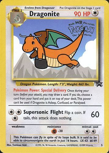 #Dragonite promo card from #Pokemon the First Movie. http://www.pokemondungeon.com/movies/pokemon-the-first-movie-mewtwo-strikes-back