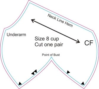 Drafting a darted bra cup, either for a basic size 4 or to one's measurements.