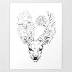 Deer With Flowers Deer antler tattoos on