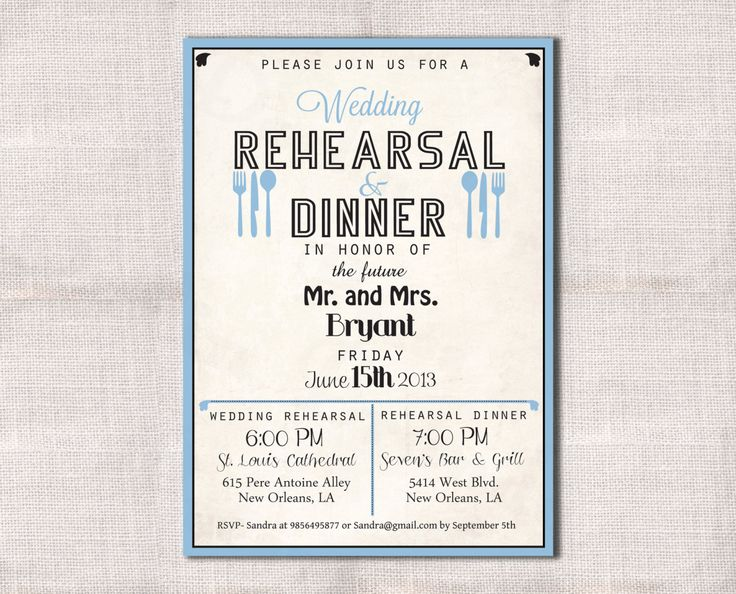 Wedding Rehearsal Dinner Invitation Custom Printable