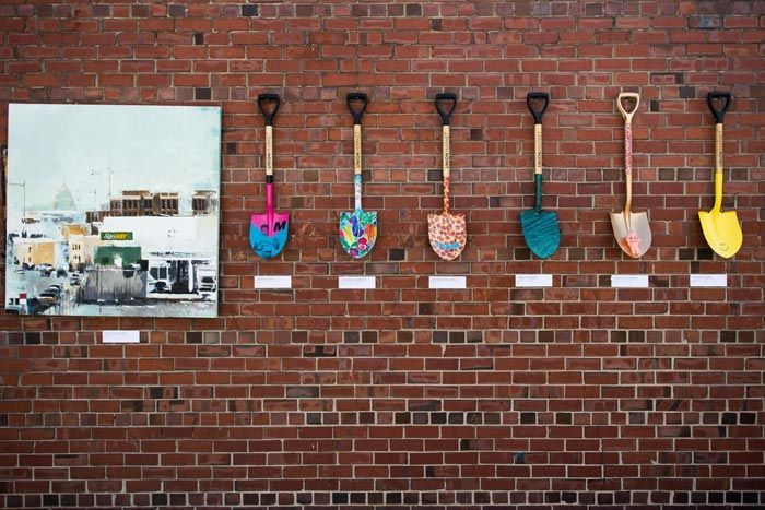 Union Market groud breaking- commissioned local artists to decorate shovels & then put them on display