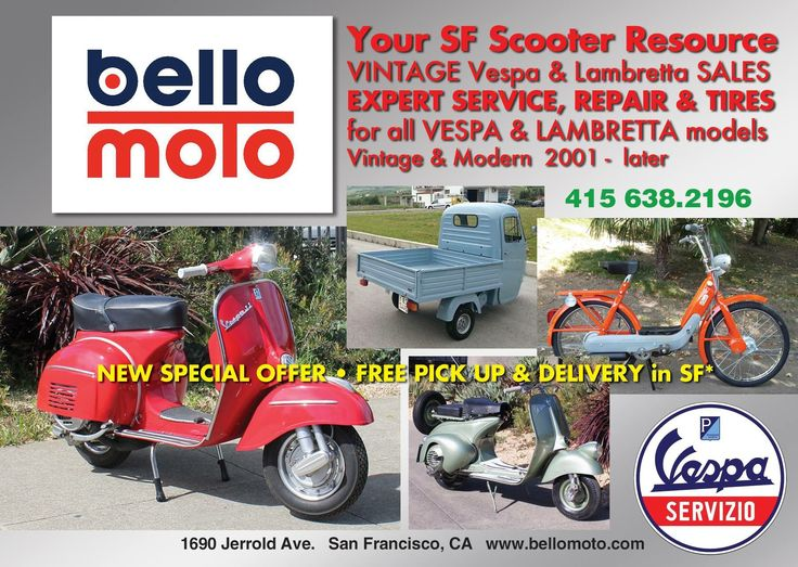 FALL SPECIAL : FREE DIAGNOSTIC with service*  $100 VALUE - Free with paid service of $350 or more.  *FREE DIAGNOSTIC valid only with service labor of $350 or more, offer expires 1/31/18  Prompt appointments available and quick turnaround.  MODERN VESPAS - all 2001- thru 2016 Models Expert Service &; Repairs Tune Ups &; Oil Changes Quality Tires - Sales & Mounting  Bodywork & Painting Seat Covers & Upholstery Insurance Estimates   Please call or Email us today to set your service appointment.