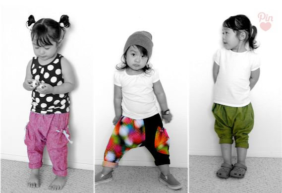 DIY Harem Pants- I think harem pants are adorable on kids HOWEVER I cringe when I see someone over the age of 5 wearing them!