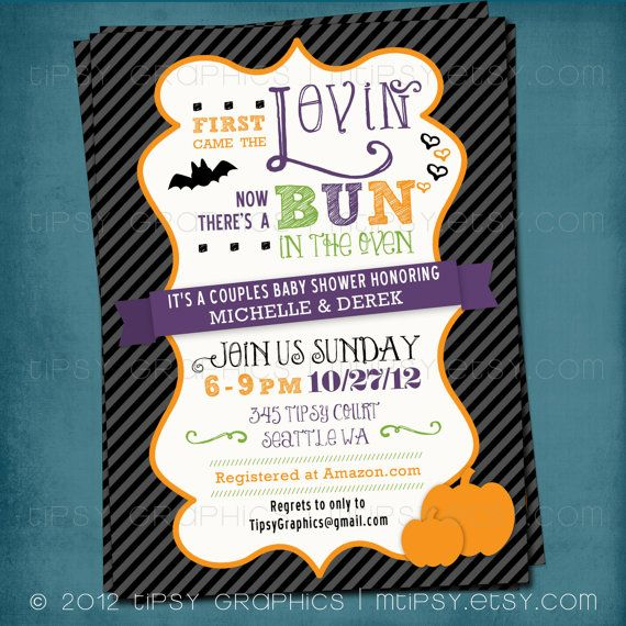 Bun In The Oven Halloween Edition Baby Shower Invite By By MTipsy, $18.00