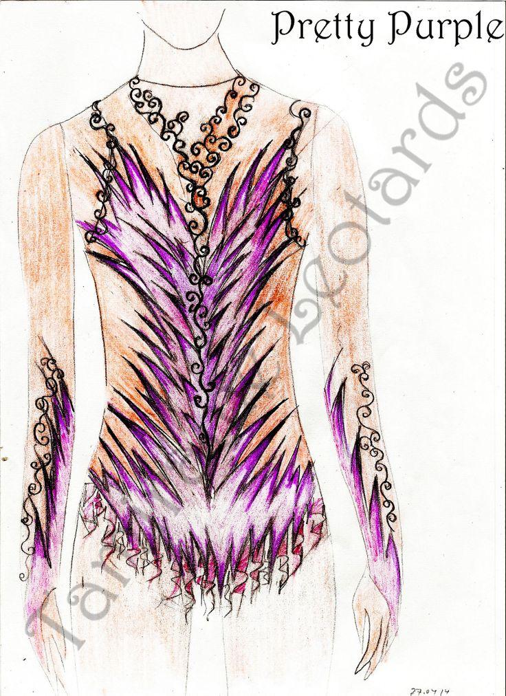 Design for rhythmic gymnastic leotard, created by Tamiraine Leotards