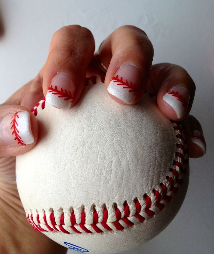 Super cute white frosted French baseball organic gel nails. Red thread stickers found on customsense.com.