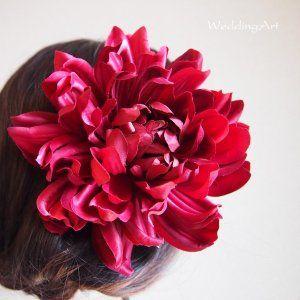 髪飾り 「ワインレッド ダリア」 成人式、卒業式、謝恩会、ヘッドドレス 結婚式 ブライダル ヘアアクセサリー