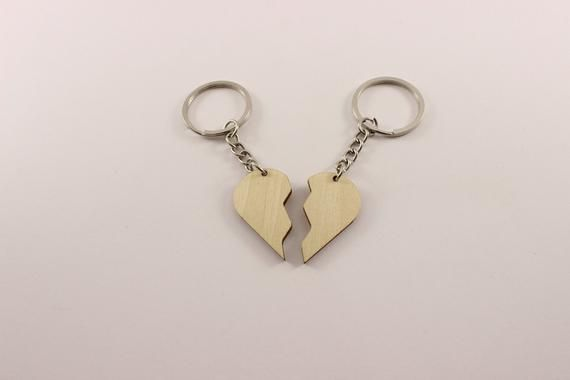 2 pieces Heart key chain | Blank keychain | Plywood keychain
