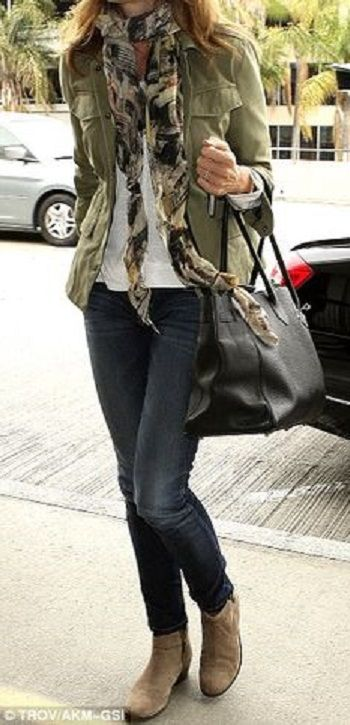 tan ankle boots, jacket, jeans and scarf... relaxed casual style for everyday!