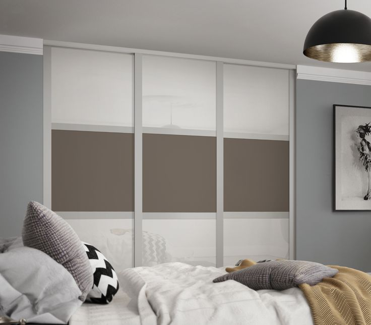 Deluxe Shaker 3 panel sliding wardrobe doors in Arctic White / Stone Grey with Cashmere frame.