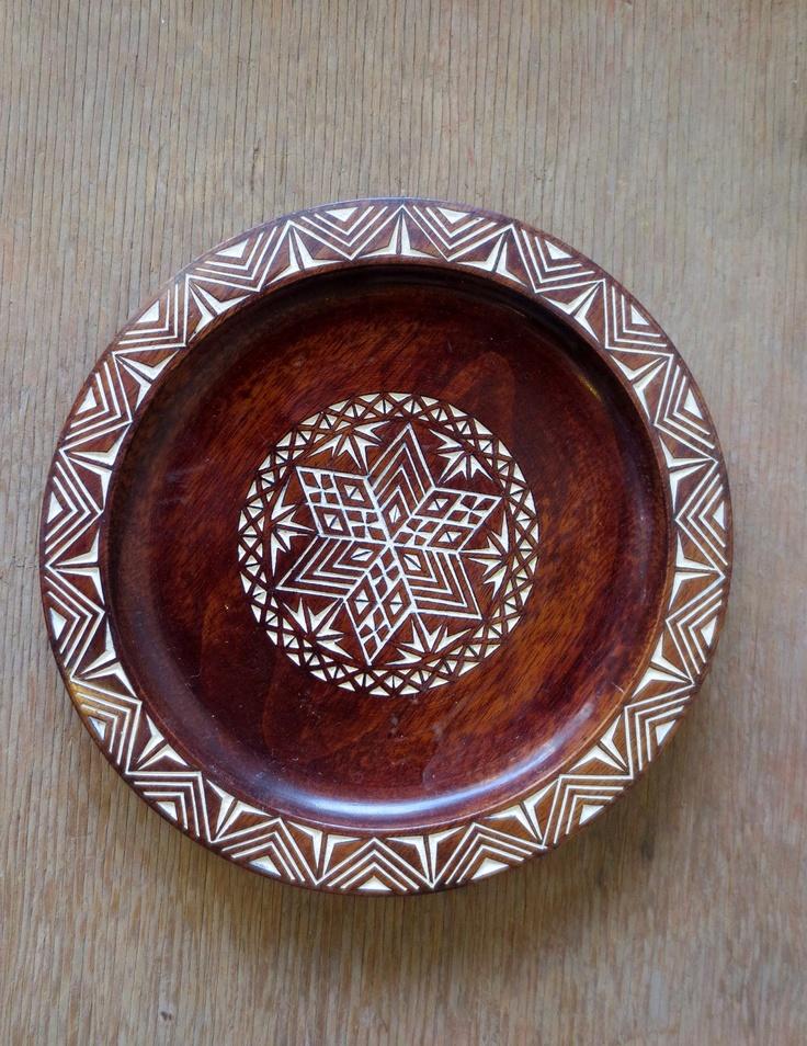 Vintage Yugoslavian Carved Wooden Decorative Plate Art