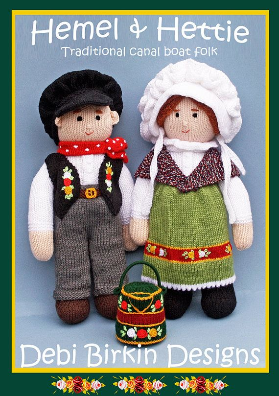 Knitting pattern for traditional English narrowboat dolls.    Debi Birkin designs are world known with a fan club and website.  This is a PDF knitting pattern which will be emailled to your ETSY email address within 24 hours  .  This pattern uses european DK yarn or substitute for USA worsted  .