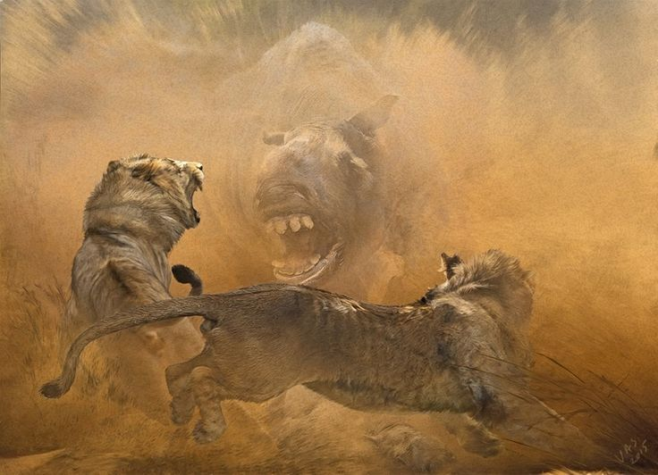 Two inexperienced American lions-teens #Panthera atrox, jump away terrified in front of the terrible teeth of a decisive female #Mixotoxodon, who is blindly angry after the predators attacked her calf . Pleistocene of Texas.