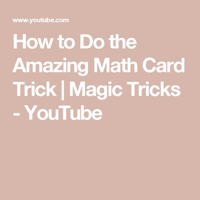 How to Do the Amazing Math Card Trick | Magic Tricks - YouTube