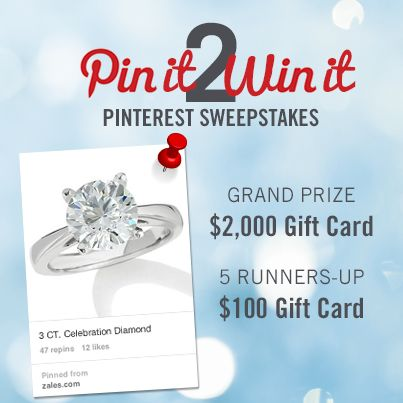"""Enter to WIN a $2,000 ZALES gift card! Here's how: 1.) Click on this pin & submit your info on the entry page, 2.) Follow Zales Jewelers on Pinterest, 3.) Pin your favorite engagement ring from our """"Engagement Rings"""" board. Good luck, and happy pinning!"""