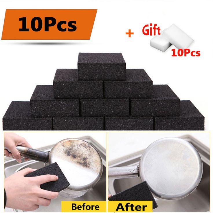 10pcs Nano Sponge Magic Eraser for Removing Rust Kitchen Cleaning Tool Plus Free Gift 10pcs White Melamine Sponge