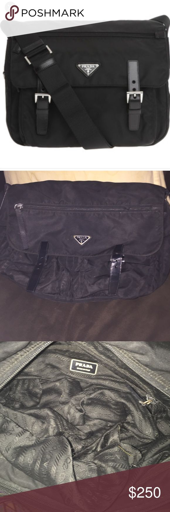 Prada Vela Bag Prada Vela cross-body messenger. Signs of wear: the inside  lining is ripped. It can easily be sewed . Otherwise in good condition. Authentic Prada.i love this bag! ***considering all offers that area reasonable **** Prada Bags
