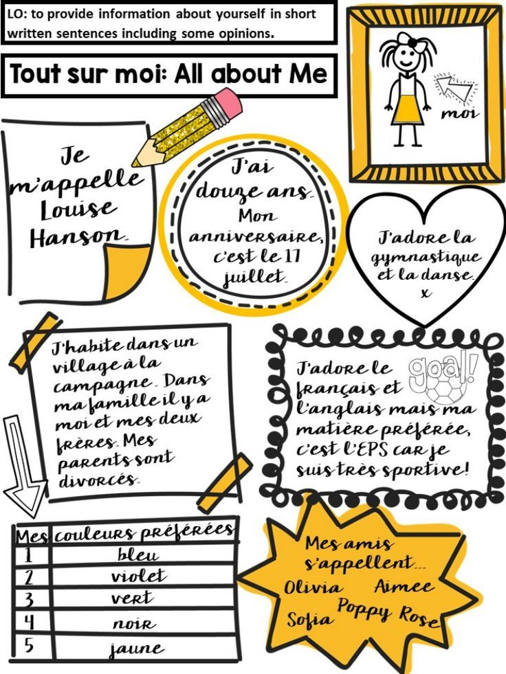 French Tout Sur Moi All About Me Sheet End Of Year Or First