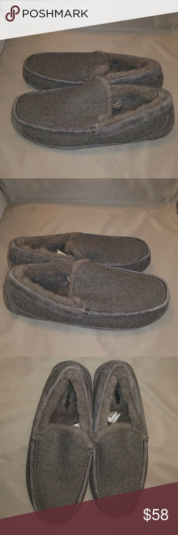 Men's UGG Ascot Wool/Sheepskin Slippers 10 Gray Excellent pre-owned condition UGG Shoes Loafers & Slip-Ons