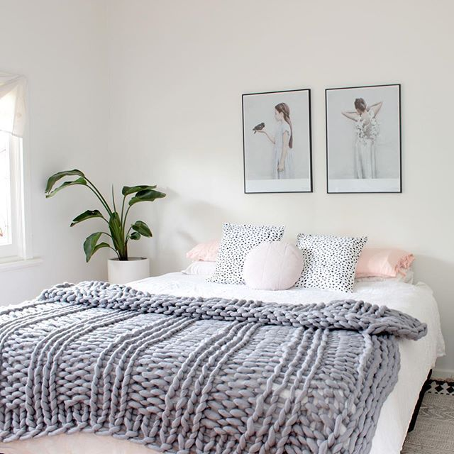 Time for bed, have taken some inspiration from the lovely @lustliving for my bedroom style tonight with our @lambandstine spotted cushions and @frunordstrom chunky knit throw in Ash all available @immyandindi #myhome #immyandindi