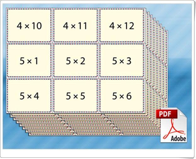 """Multiplication Flash Cards"" (Tablas de multiplicar)"