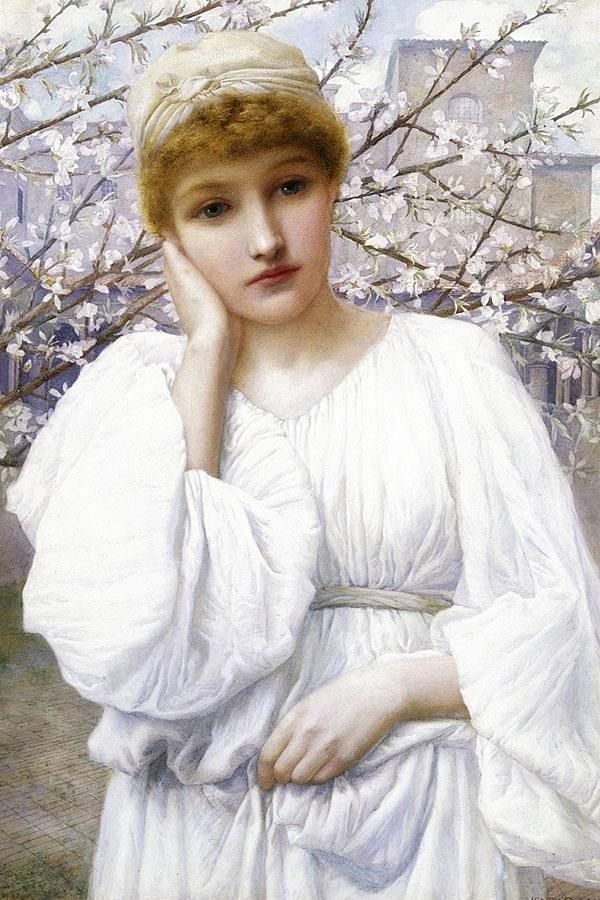 """⊰ Posing with Posies ⊱ paintings of women and flowers - Henry Ryland """"La Primavera"""" (thanks to Konni P.)"""