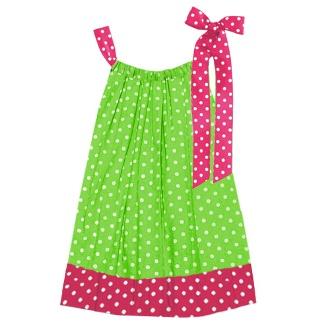 polka dot pink and green Pillowcase Dress