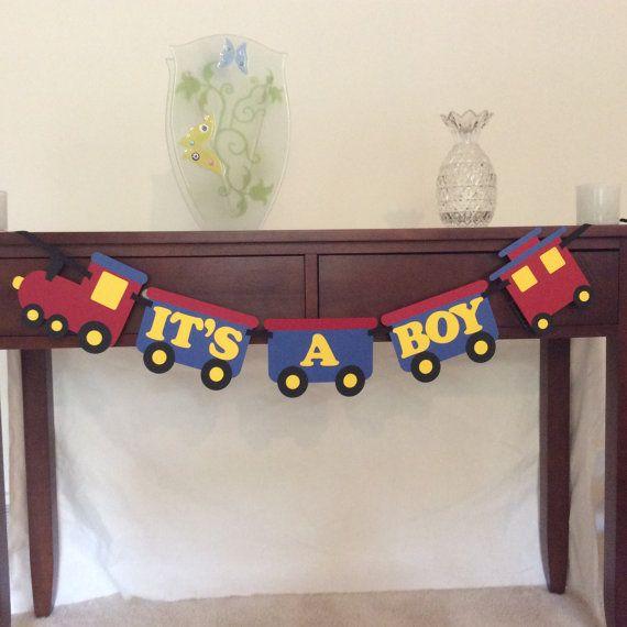 Train Baby Shower Banner  It's a Boy Banner  by DecorateYourBigDay, $25.00