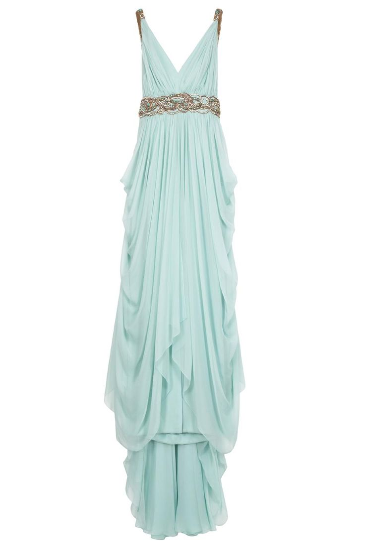 Chiffon Embellished Grecian Gown By MARCHESA - see more the of #Mint Wedding Trend at this Pinterest board