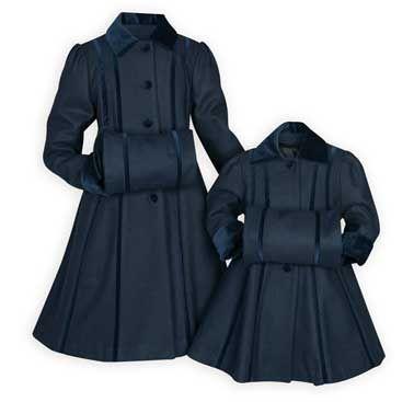 Girls Wool Navy Velvet Bow Coat W Muff Girls Dress