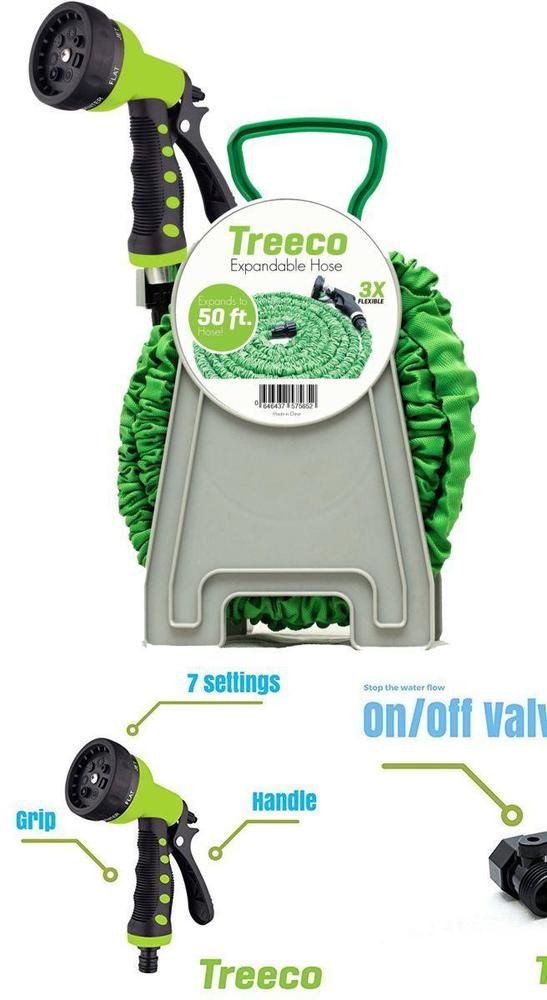 Water Washing Kit Reel Expandable Garden Hose 50' Brass Connectors Spray Nozzle #Treeco