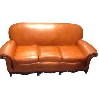 This Orange Leather Sofa Is In Great Condition. No Rips Or Stress Marks In  The Leather. Minor Marks On T.