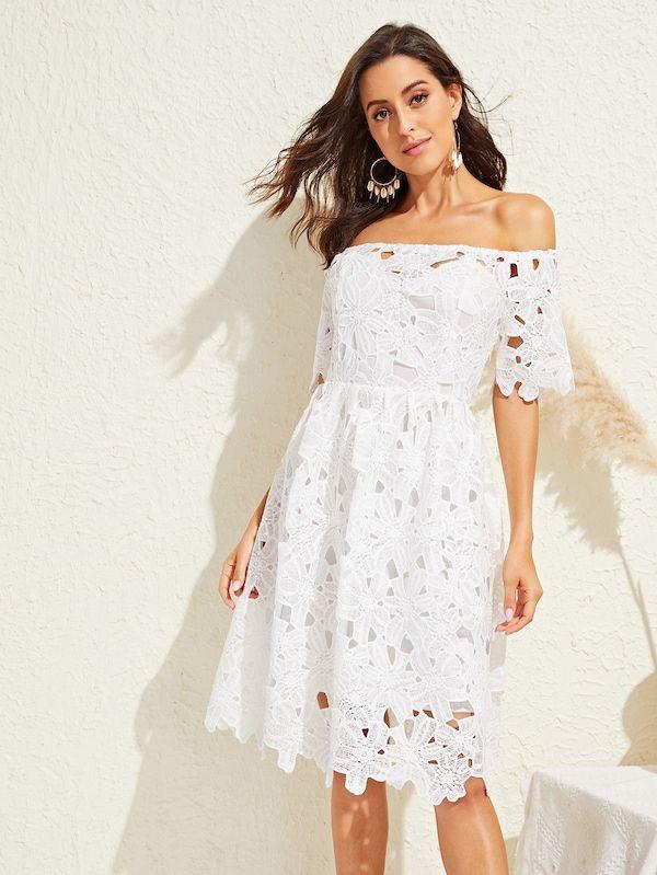 3ca23d99d66ec Guipure Lace Bardot Flare Dress   SHEIN   II DRESSES <3 II