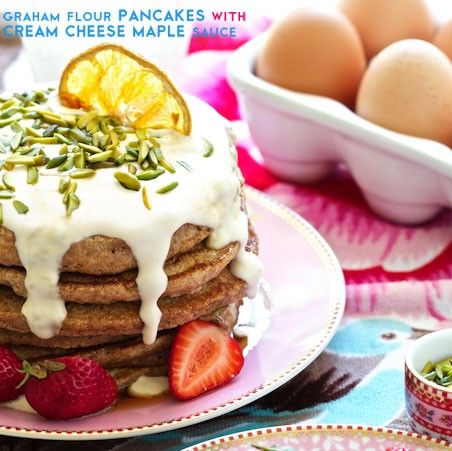 graham flour pancakes with cream cheese maple sauce (graham flour, egg whites, fat free cream cheese for topping) | marla meridith