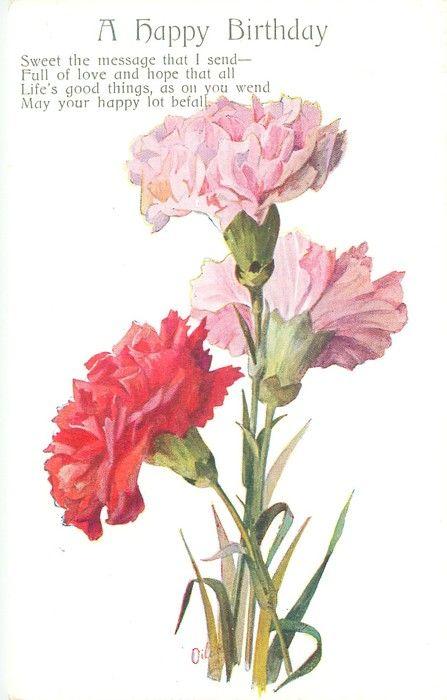UN FELIZ CUMPLEAÑOS tres claveles, dos rosas y una roja