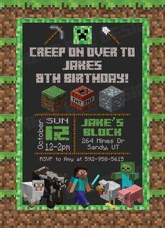Minecraft Birthday Invitation, Minecraft Birthday Party - Custom Prin ...