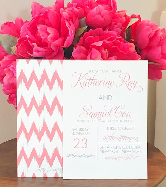 Chevron And Pink Wedding Invitations | Photographed By Desiree Hartsock