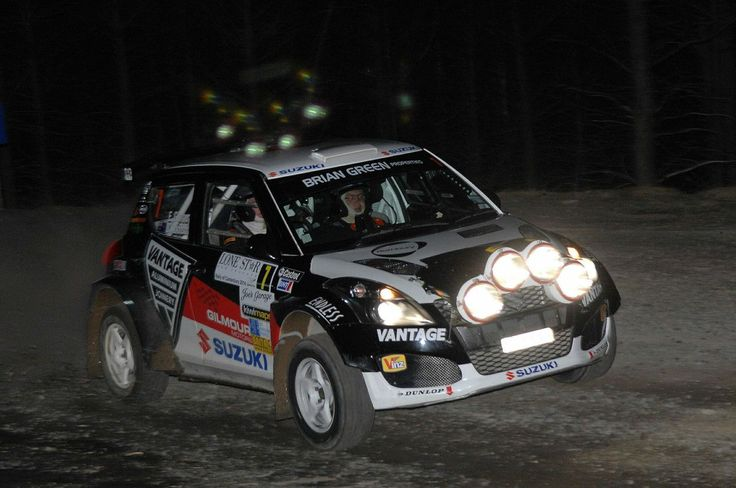 Emma Gilmour and Suzuki Swift Sport Maxi Rally Car - Night Stage Canterbury Rally 2014