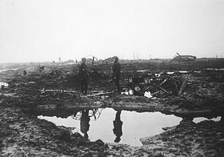 WWI, A Scene on Flanders Battlefield. ©The Tank Museum