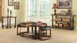 Northwood Round Coffee Table Set - Natural Brown with Metal Banding