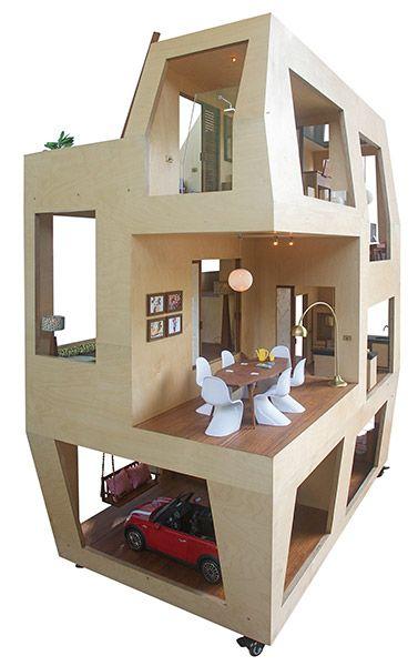 Spiral Dollhouse, 1:6 Birch plywood, teak, teak veneer, rosewood, brass