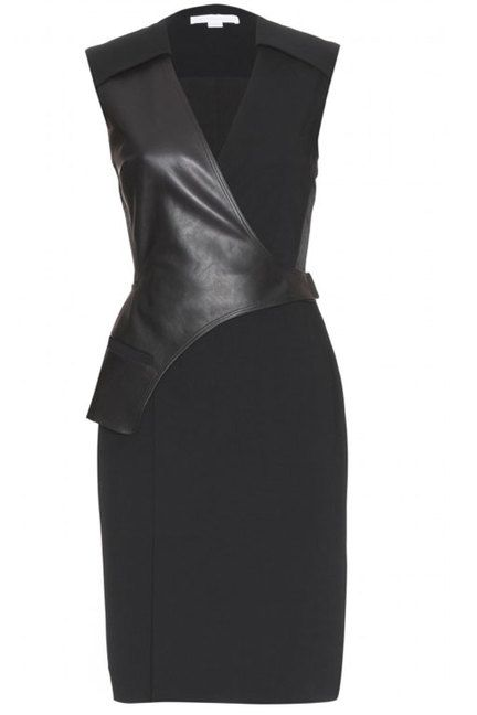 Leather - love this dress if it had sleeves and a higher neckline. Maybe add a tank under and a solid colored jacket to fix the problem???