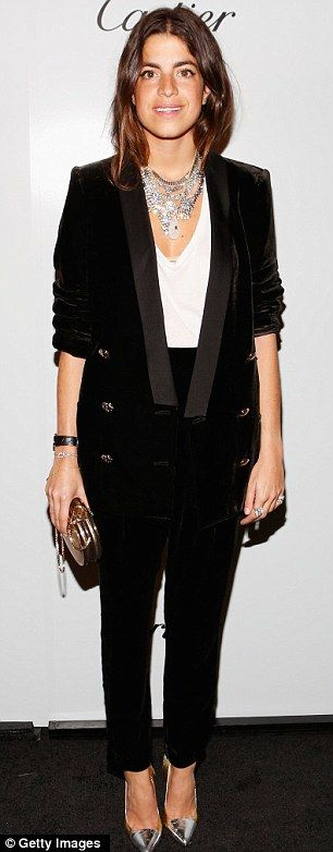 Leandra Medine killing it in a velvet pant suit.