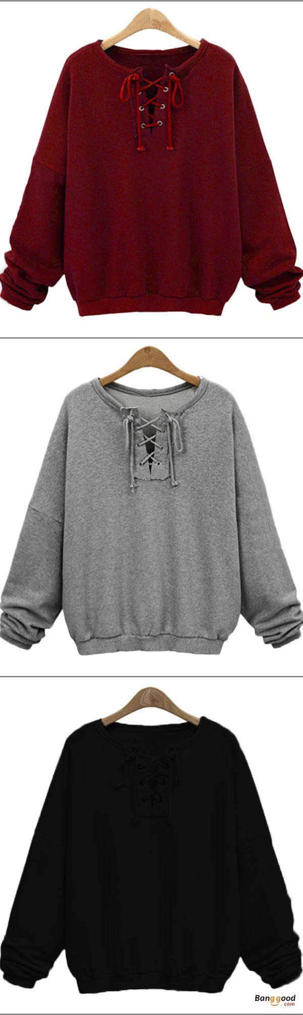 US$26.59 + Free shipping. Size: M~5XL. Color: Black, Burgundy, Gray. Fall in love with casual and vintage style! Casual Loose Bandage Lace Up Long Sleeve Pure Color Women Hoodies. #sweatshirts #tops #outfit