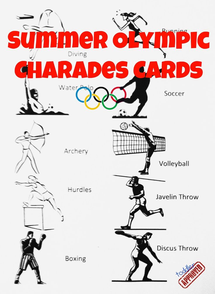 Summer Olympic Charades Free Printable from Toddler Approved