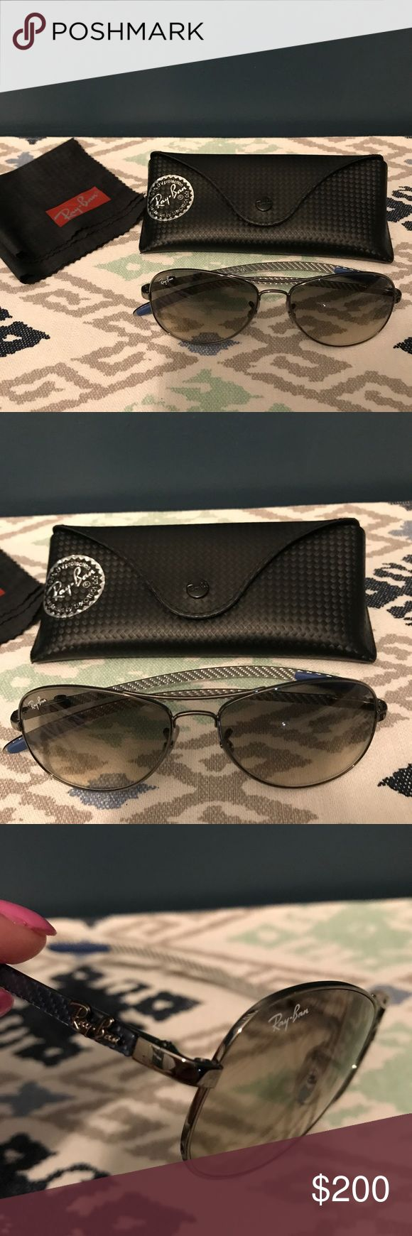 Ray Ban Polarized Carbon Fibre Sunglasses Price Reduced! Ray Ban 8130 56-14 Polarized Aviator Sunglasses! Navy Blue arms! Never worn! Ray-Ban Accessories Sunglasses