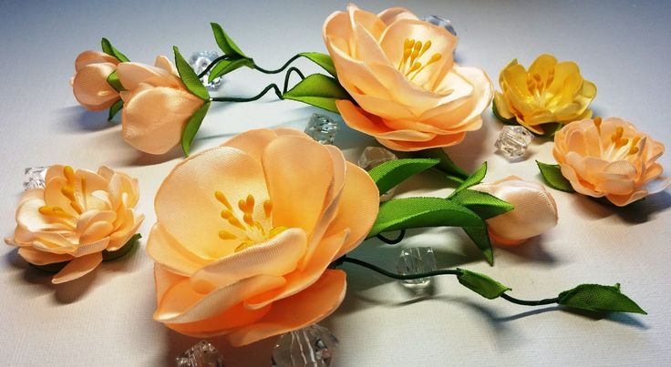 Ribbon flowers:quick and easy/Flores de las cintas:rápida y fácil/Цветы ...